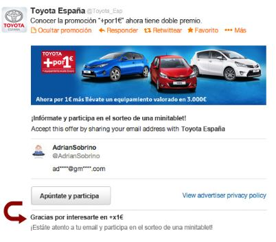 Leads generation card toyota