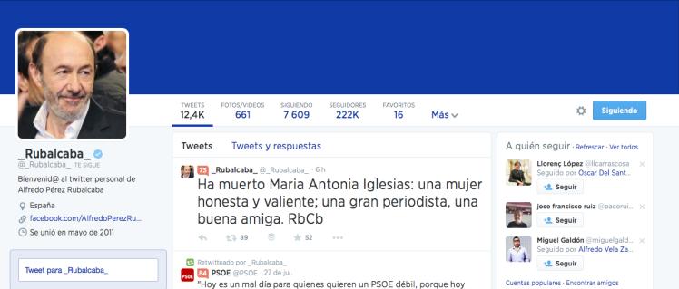 Rubalcaba en Twitter