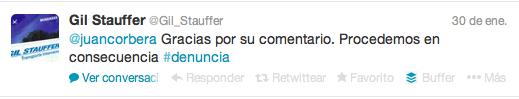Gil Stauffer se la juega en Twitter
