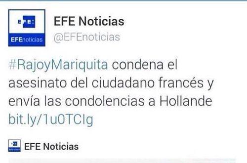 EFE publica en Twitter #RajoyMariquita