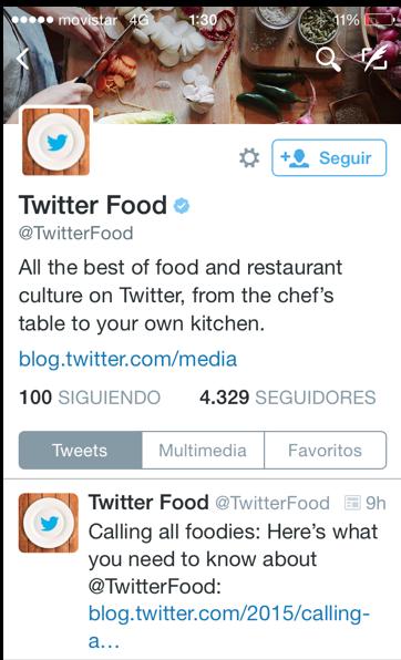 Cuenta gastronomía Twitter