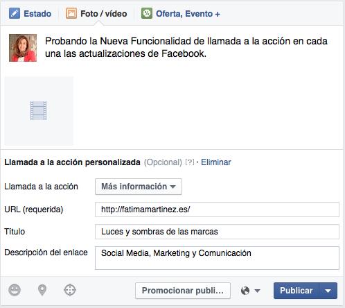 Llamada acción Facebook