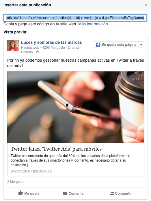 Facebook en el blog
