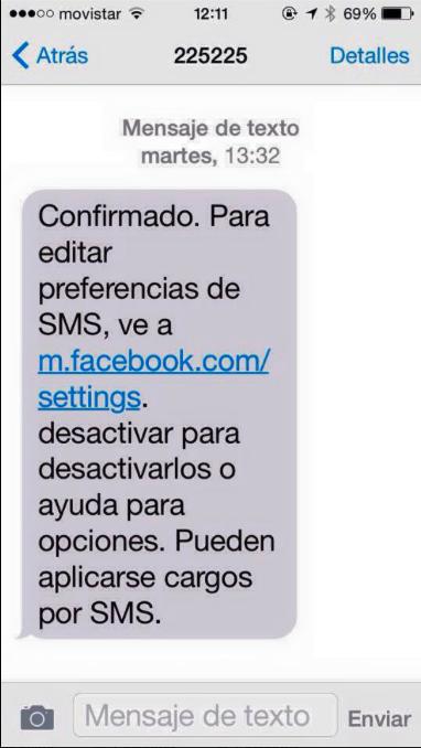 Anular SMS Facebook