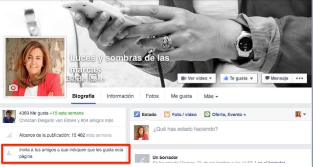 Invitar amigos a páginas Facebook