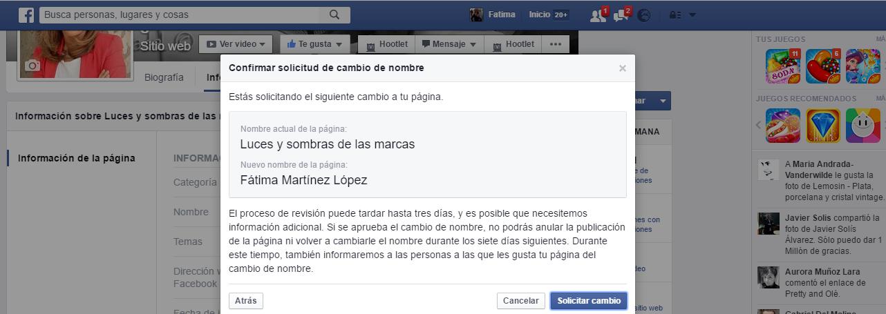 Cambiar nombre página FB