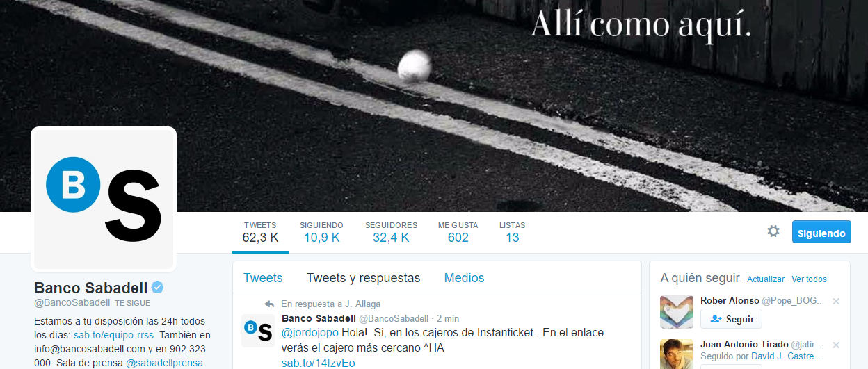 BAnco Sabadell Twitter