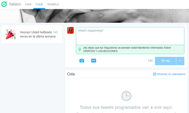Programar tuits Twitter Dashboard