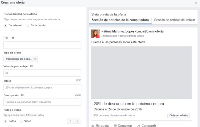 crear oferta pagina facebook