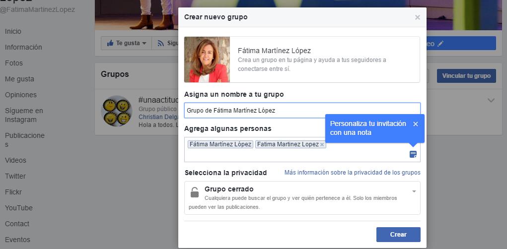 Crear grupo en página de Facebook