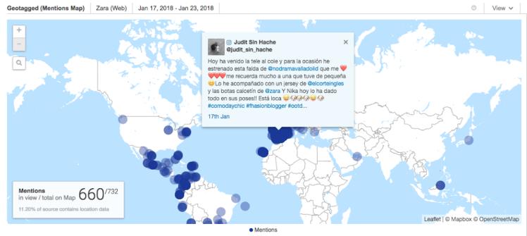 Mapa de menciones redes sociales