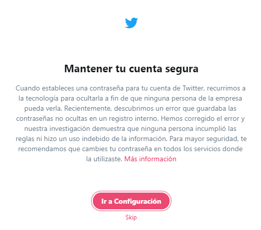 Cambiar contraseña Twitter