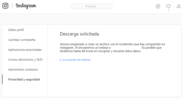 Copia seguridad Instagram