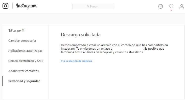 Copia seguridad Instagram