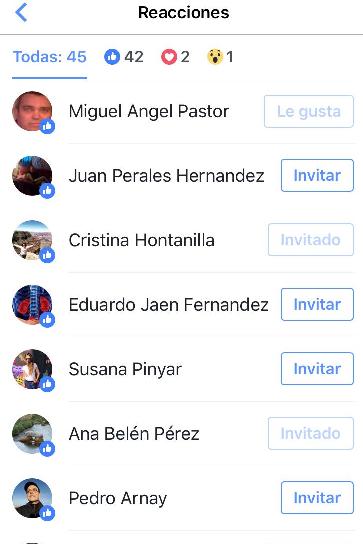 Invitar usuarios a página facebook