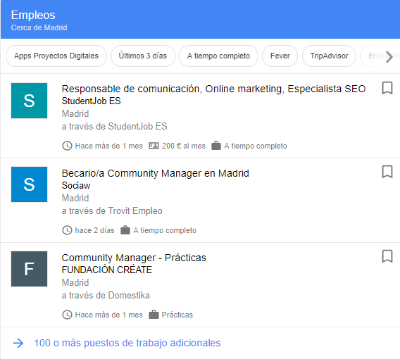 Buscar trabajo en google