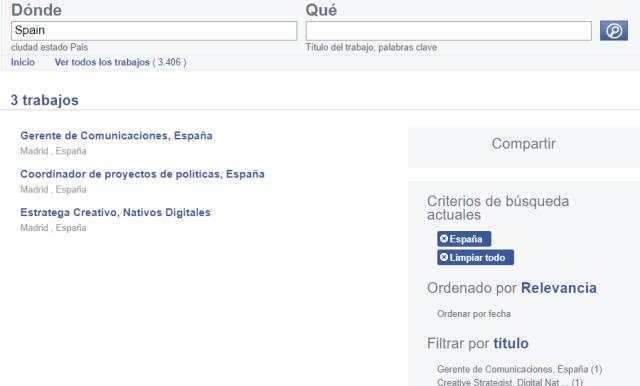 Ofertas trabajo en Facebook